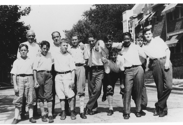 "The gang at Hall Place, circa 1928: In front, ""Heavy"" Robinson, Tommy Quinn, Billy Freeman, Johnny Ballinger, Clayton Snyder, Freddy Brault, Larry Duvall, Ken Murayama, Toddy Lyddane, and Buck Eby; in back, Eugene T. Lyddane and Louis Freeman."