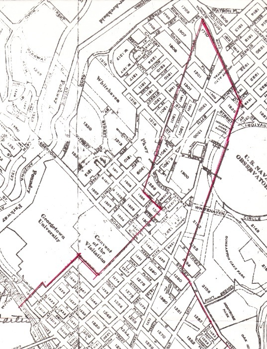 "The northern boundaries of the city of Georgetown, as confirmed by Congress––""An Act Amending the Charter of Georgetown,"" March 3, 1809––are shown in red on a modern street map. (Prepared by Col. Robert B. Curtiss, of the Burleith Citizens Association in 1974.)"