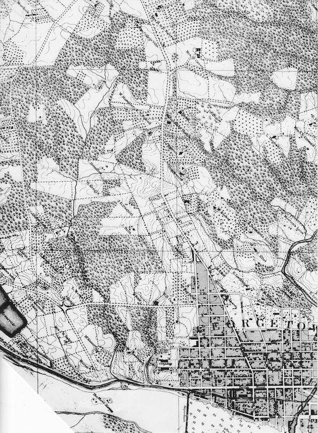 Georgetown and parts of Washington County, Topographical Map of the District of Columbia, surveyed in the years 1856-1859 by Albert Boschke, (detail).