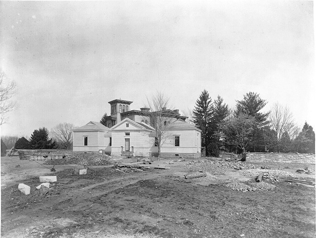 "Construction of the Observatory Clock House, circa 1890; in the background, ""North View"". (USNO Archives)"