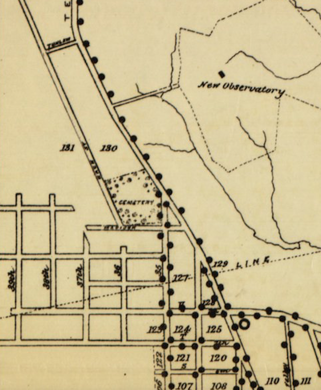 The course of the Washington Acqueduct under Burleith is indicated by a dotted line. (Statistical Map No.7, Showing the Location Of Street Lamps, to accompany Annual Report of the Commissioners, 1891.)
