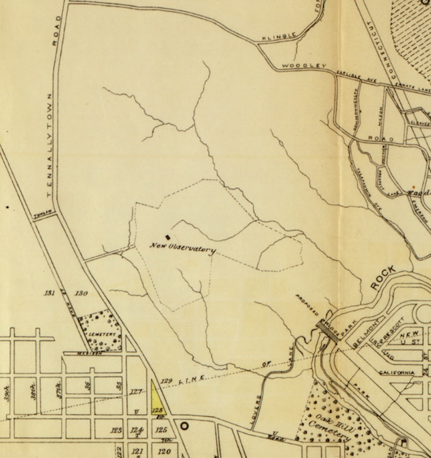 The contours of land purchased for the new Naval Observatory, and the proposed Massachusetts Avenue bridge over Rock Creek, in 1891. (Maps accompanying the report of the operations of the Engineer Department of the District of Columbia for the fiscal year ended June 30, 1891: compiled by Capt. W.T. Rossell, U.S. Eng'rs; compiled by Capt. J.L. Lusk, U.S. Eng'rs, [detail].)