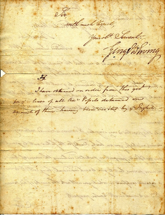 Letter from George William Erving (1769–1850), Chargé d'Affaires of the United States in Spain (1804-1809), to John Leonard, United States consul in Barcelona, June 1, 1808. (Scanned by Neil Kaplan)