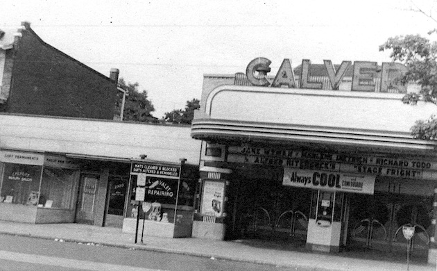 "The Calvert Theater, on the west side of Wisconsin Avenue near Hall Place; as John P. Wymer passed this way on a quiet Sunday morning in the summer of 1950, Alfred Hitchcock's ""Stagefright"" was the feature. (Wymer Collection, Historical Society of Washington)"