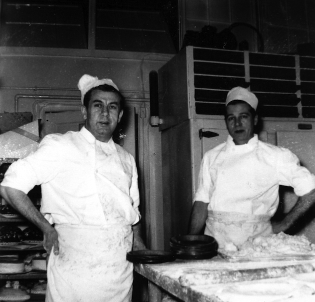August Neuland and Frank Wenger in the bakery. (Courtesy of a descendant)