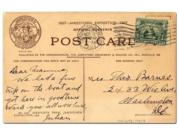 "Mrs. Theodore Barnes was the official ""First Member"" of Mount Pleasant Methodist Protestant Chapel, the predecessor to Saint Luke's Church. The writer is her son, Julian Francis Barnes. (Smithsonian National Postal Museum, via Jerry McCoy, DC Public Library)"