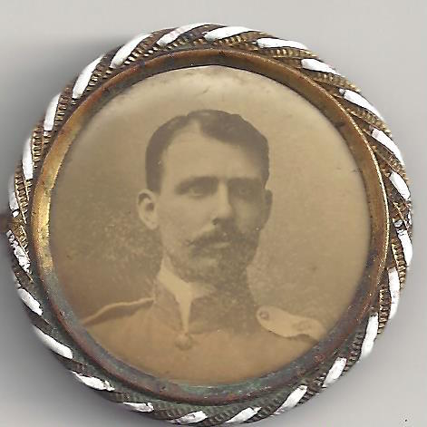 A tintype button portrait, tentatively identified as Manel C. Causten. (Courtesy of a descendant)