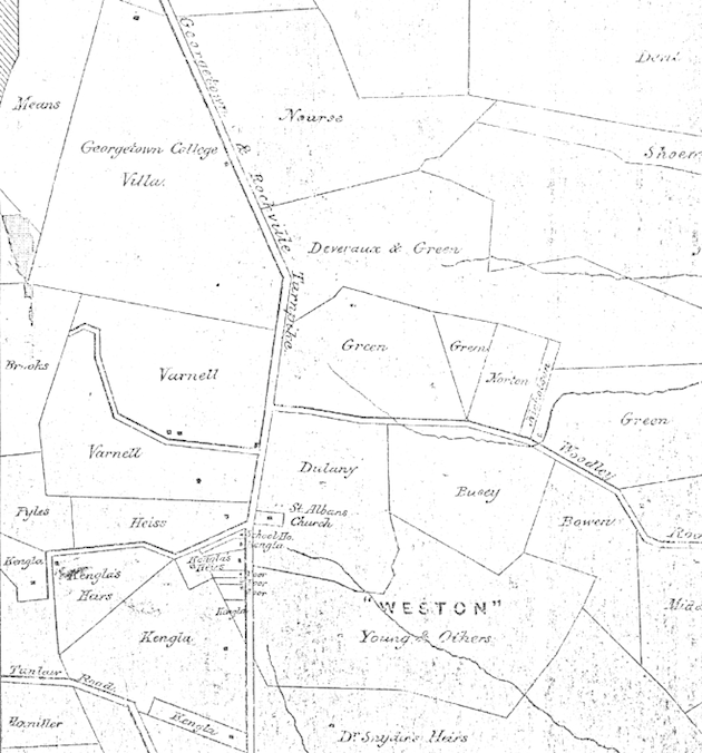 Map of the Real Estate in the County of Washington, D.C. (Carpenter), 1881, detail.