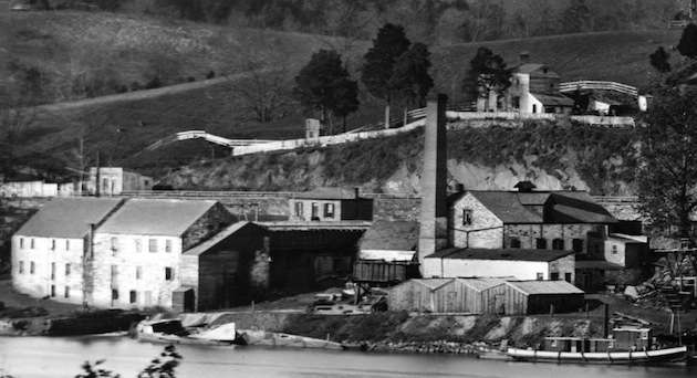Foxall's Columbia Foundry (detail of a panorama of Georgetown, 1865, Library of Congress)