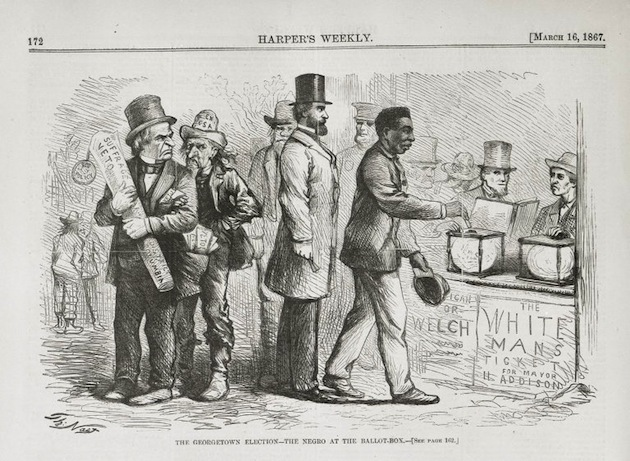 "(""The Georgetown Election––The Negro at the Ballot Box"", Thomas Nast, Harper's Weekly, March 16, 1867)"