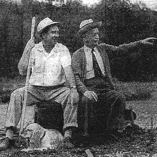 Alfred Goldschmidt (right), one of the founders of the victory gardens in Glover Park, with Frank Roczey, of 4027 Beecher Street, president of the Glover Park Community Garden Association. (Washington Post and Times Herald, May 14, 1956)