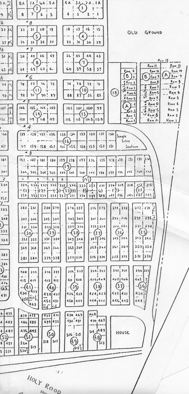 Detail of the 1933 map, showing the northern part of Holy Rood Cemetery.