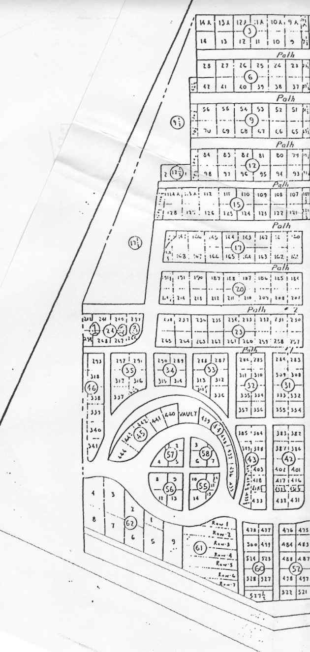 Detail of the 1933 map, showing the southern part of Holy Rood Cemetery.