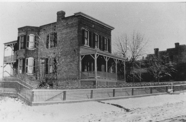 The James C. Dulin house at 2568 37th Street, circa 1898. In the background, the Schneider house, at the present intersection of 37th and Calvert Streets. (James C. Dulin Collection, Historical Society of Washington)