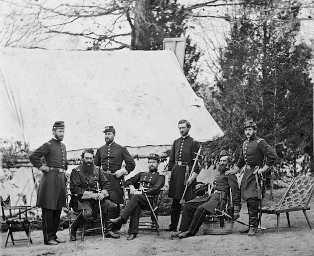 General John J. Peck (fourth from left) and Staff, Tennallytown, 1862.