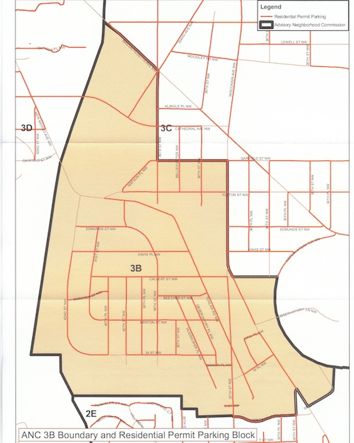 Map of Advisory Neighborhood Commission 3B and Residential Permit Parking Block, no date. ANCs were created in connection with the District of Columbia Home Rule Act of 1973 to consider city policies and programs affecting their neighborhoods.