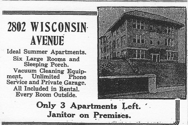 2802 Wisconsin Avenue, built in 1916, and replaced in 1964 by 2800 Wisconsin Avenue. (Washington Post, April 16, 1916, p.R2)