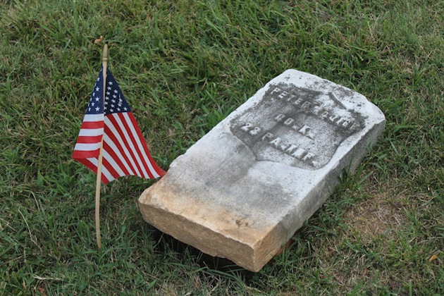 The gravestone of a Civil War veteran, Pvt. Peter McGirr, Company K, 23rd Pennsylvania Infantry (Birney's Zouaves), who died in 1899. (Section 55)
