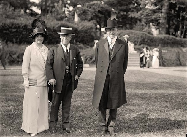 A charity fête at Friendship, 1913; John R. McLean (center), with Millicent and William Hearst. (Library of Congress)