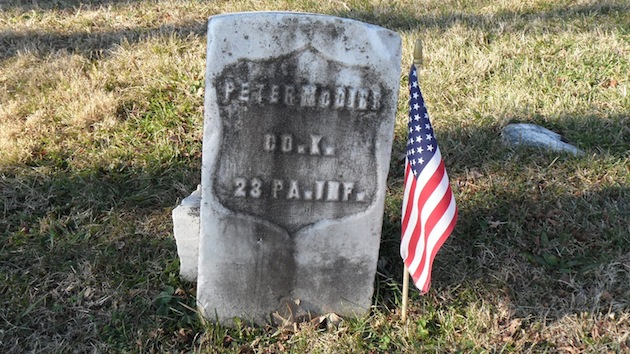 Pvt. Peter McGirr, Company K, 23rd Pennsylvania Infantry (Birney's Zouaves), died 1899  (section 55; photograph courtesy of Randy Walsh)