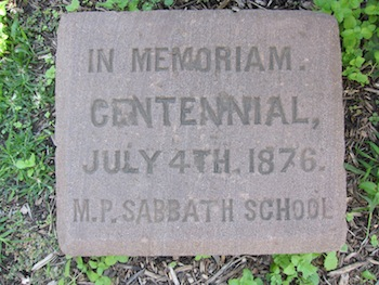 Memorial stone placed on the grounds of Mount Pleasant Chapel, on July 4, 1876, by the Methodist Protestant Sabbath School . Today this stone can be seen in the courtyard of St. Luke's United Methodist Church.