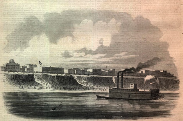 """Ellet's Ram Approaching the City of Memphis, Tennessee to Demand its Surrender"", Line engraving, after a sketch by Alexander Simplot, published in Harper's Weekly, depicting an incident at the close of the Battle of Memphis on June 6, 1862. The steamer shown may be Mingo or Lioness, the stern-wheel rams of Ellet's fleet. (Naval Historical Center)"