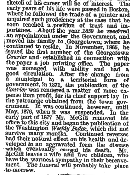 "(""Death of John D. M'Gill"", Washington Post, January 19, 1880, p.1)"