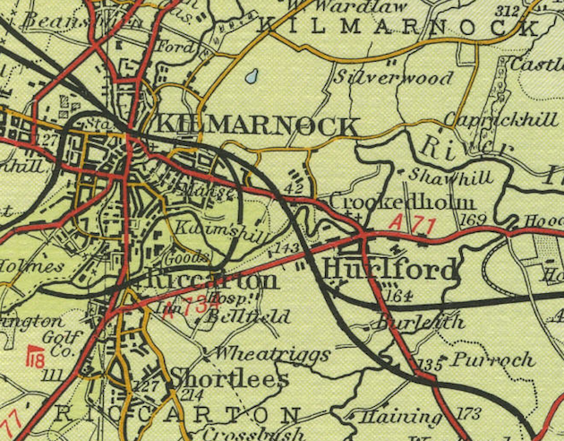 Map of the town of Kilmarnock, circa 1950; the village of Burleith can be seen at the lower right, south of Hurlford. (www.oldemaps.co.uk)