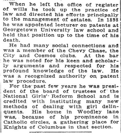"(""Death of J. Nota M'Gill"", Washington Post, October 17, 1915, p.19)"