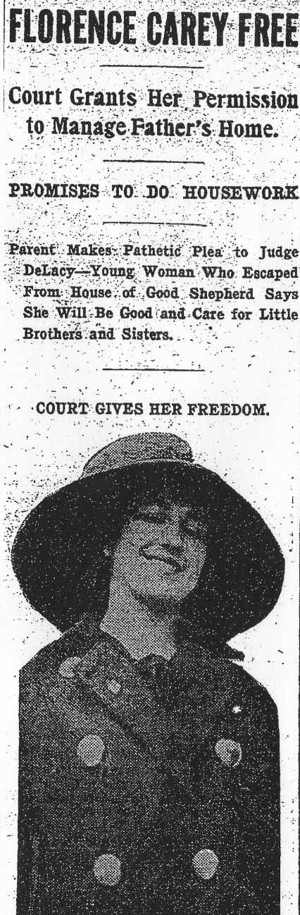 """Florence Carey, who escaped from the House of the Good shepherd three times, but who now will act as ""little mother"" in her father's home, soon to be established."" (Washington Post, March 8, 1911, p.4)"