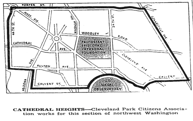 The boundaries of the Cathedral Heights-Cleveland Park Citizens Association in 1940. (Washington Post, October 9, 1940, p.17)