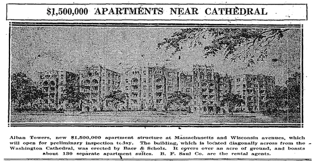 "Architectural rendering of the Alban Towers apartment building. (""$1,500,000 Apartments Near Cathedral"", Washington Post, August 26, 1928, p.R1)"
