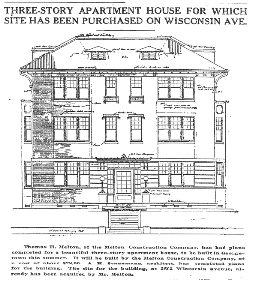Elevation drawing for an apartment building under construction at 2802 Wisconsin Avenue. (Washington Post, July 18, 1915, p.R5)