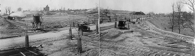 """""""Road and railroad construction on Mass. Ave., Washington, D.C., looking west from the Naval Observatory Circle, March 24, 1911"""" (Bryan Collection, Library of Congress)"""