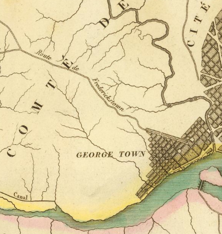 Detail, Carte geographique, statistique et historique du District de Colombie, 1825 (David Rumsey Map Collection, Ghosts of DC)