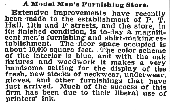 (Washington Post, October 3, 1899, p.12)