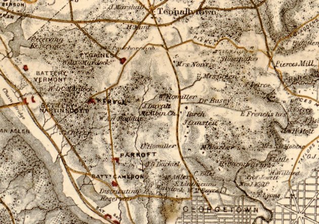 Military Map, 1865, detail. (Library of Congress)