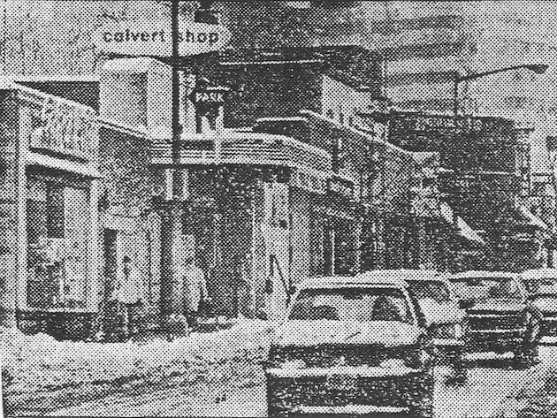 The Calvert Shop wines and liquors, with entrance to parking under the marquee of the former Calvert Theater. (Washington Post, February 6, 1982)