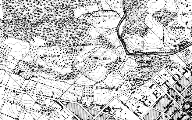 Charles Ellet built Clifton, just north of Georgetown, D.C, in 1857. (Topographical Map of the District of Columbia, surveyed in the years 1856-1859, by Albert Boschke)