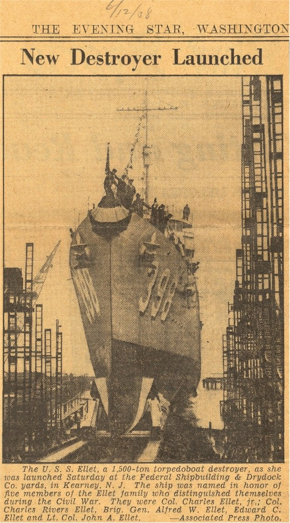 The launching of the destroyer USS Ellet. (Evening Star, June 12, 1938)