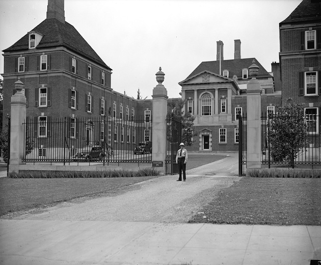 "The British Embassy, June 18, 1940. ""Despite the tense situation abroad and talk of the fifth columns on this side no increase has made in the police detail guarding the British Embassy here. A solitary minion of the law still guards the majestic building."" (Library of Congress, research by Ghosts of DC)"