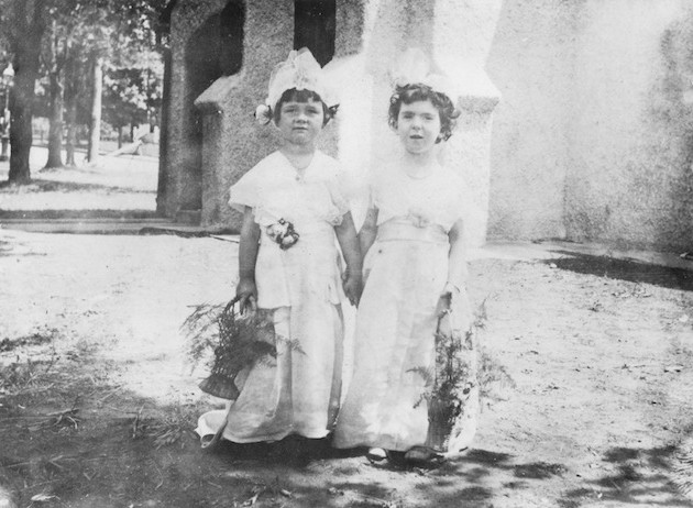 Two girls at Mount Tabor Church, circa 1915.