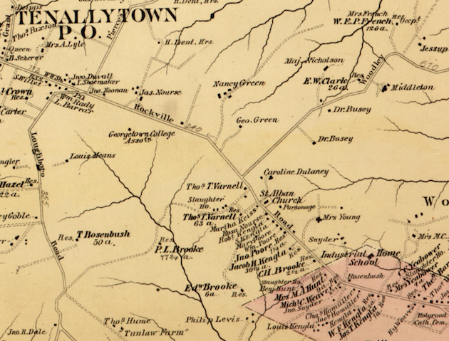 The section of Washington County between Tennallytown and the old corporation line of Georgetown (pink), the future Cathedral Heights. (Hopkins, Atlas of Washington D.C., 1879)