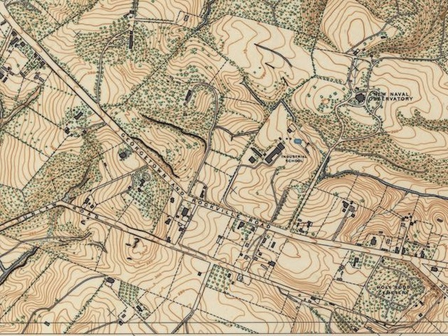 Sectional Maps of the Distict of Columbia (City Excepted), US Coast and Geodetic Survey, 1892, sheets 42, 43, 53 [detail].