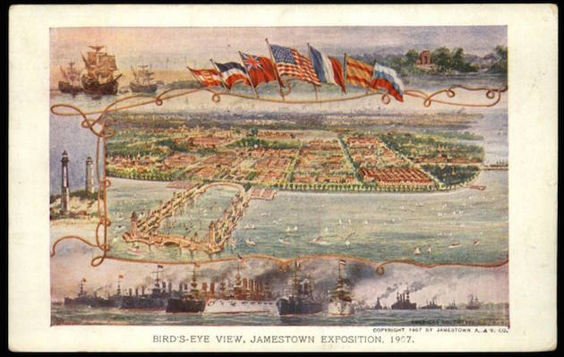 The Jamestown Exposition, commemorating the 300th anniversary of the founding of the colony, was held from April 26 to December 1, 1907, in Norfolk, Virginia. (Smithsonian National Postal Museum, via Jerry McCoy, DC Public Library)