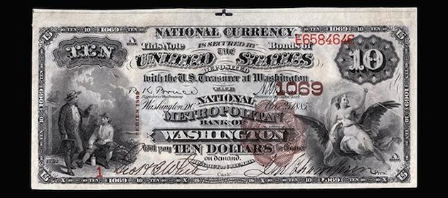 A bank note of the National Metropolitan Bank of Washington (National Bank Note Project, National Currency Foundation)