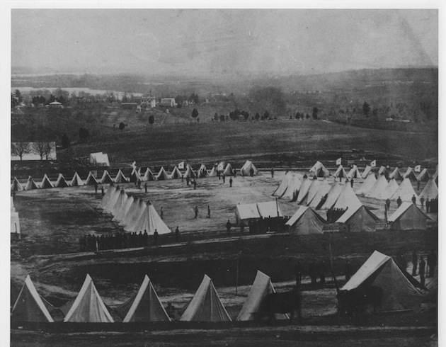 Looking south from Red Hill; there appear to be two sheep in the foreground. (Carlisle Military Institute)