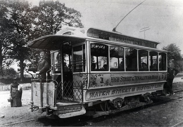 A High Street & Tenallytown Road streetcar, circa 1890. The developers Richard H. Goldsborough, John E. Beall, and John W. Thompson, were all connected with the Georgetown and Tennallytown Railroad Company. (Tenleytown Historical Society)