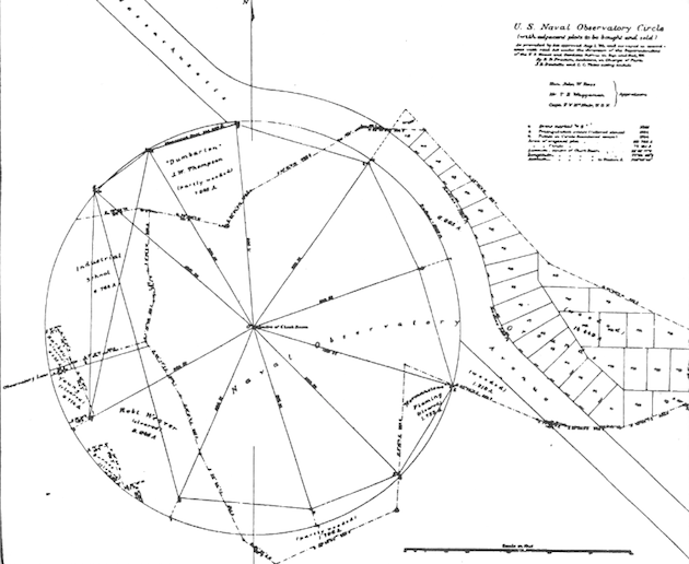 The relationship of the irregular Barber property to the planned circular shape of the Naval Observatory. (Annual Report of the U.S. Naval Observatory, 1882, U.S.N.O. Archives)
